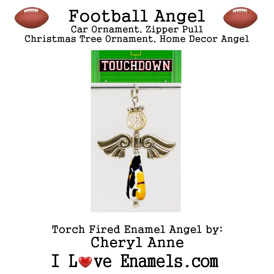 Chicago Bears Football Angel, Torch Fired Enameled Angel, Angel Necklace,Angel Car Ornament, Christmas Tree Angel Ornament, Zipper Pull, Fan Pull