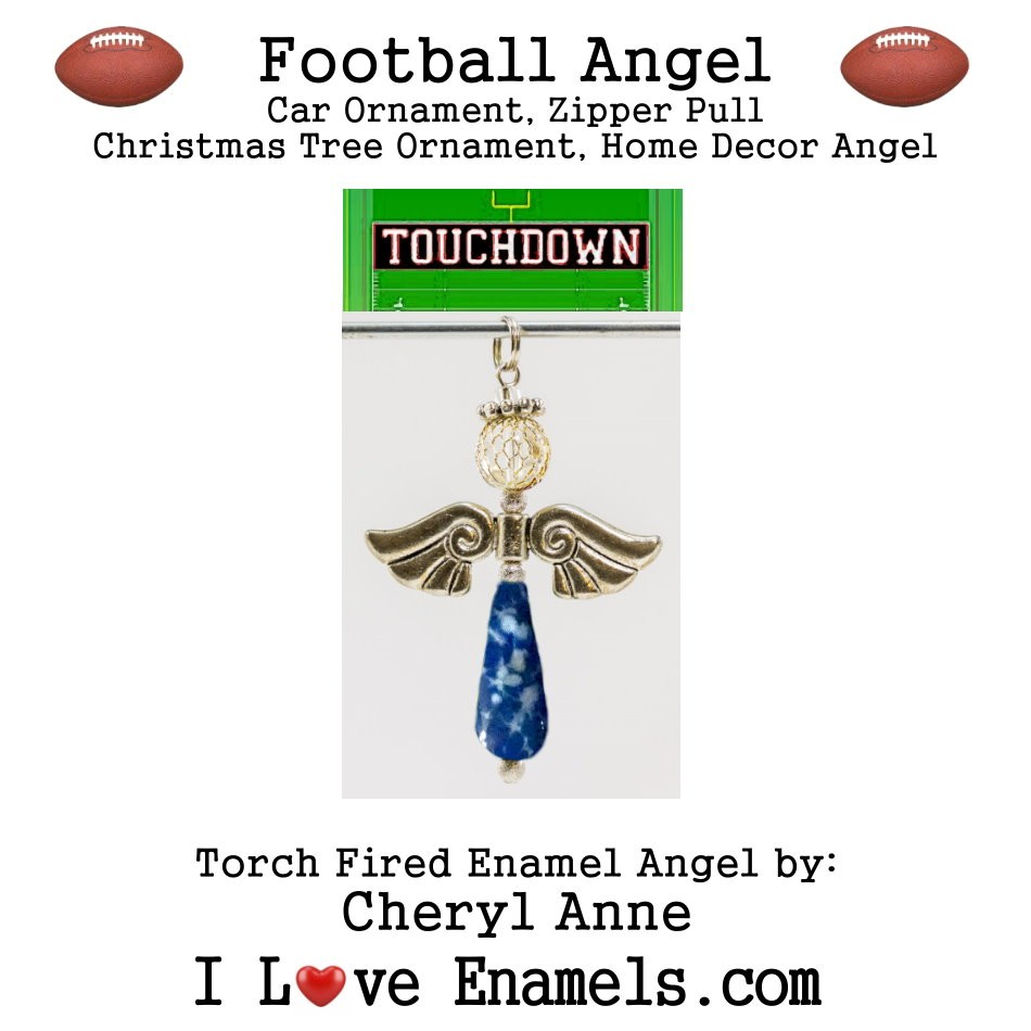 Dallas Cowboys Football Angel, Torch Fired Enameled Angel, Angel Necklace, Angel Car Ornament, Christmas Tree Angel Ornament, Zipper Pull, Fan Pull