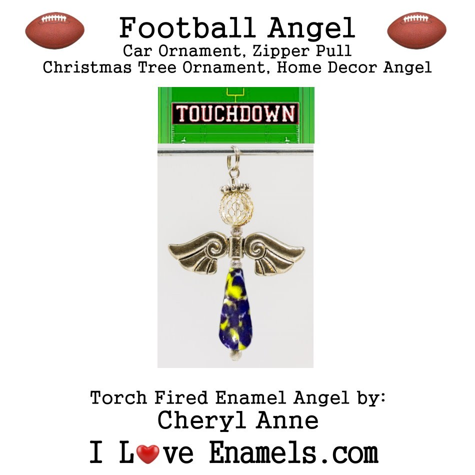 Minnesota Vikings Football Angel, Torch Fired Enameled Angel, Angel Necklace, Angel Car Ornament, Christmas Tree Angel Ornament, Zipper Pull, Fan Pull