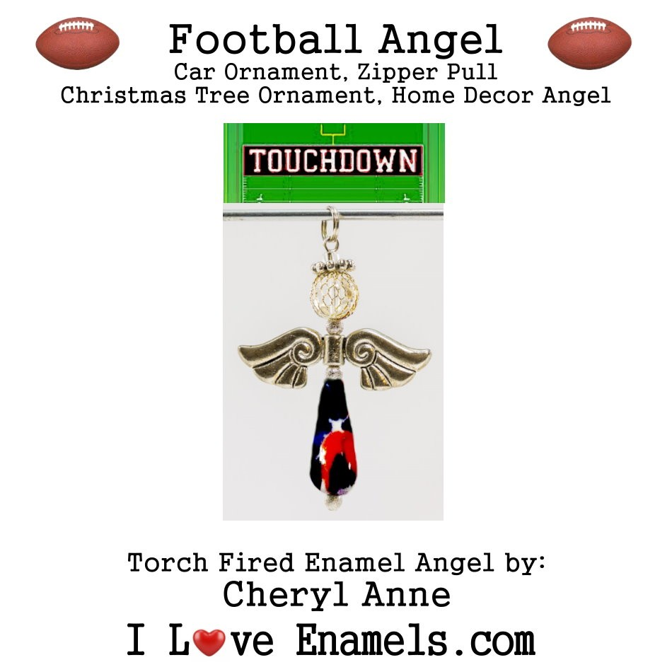 New England Patriots Football Angel, Torch Fired Enameled Angel, Angel Necklace, Angel Car Ornament, Christmas Tree Angel Ornament, Zipper Pull, Fan Pull