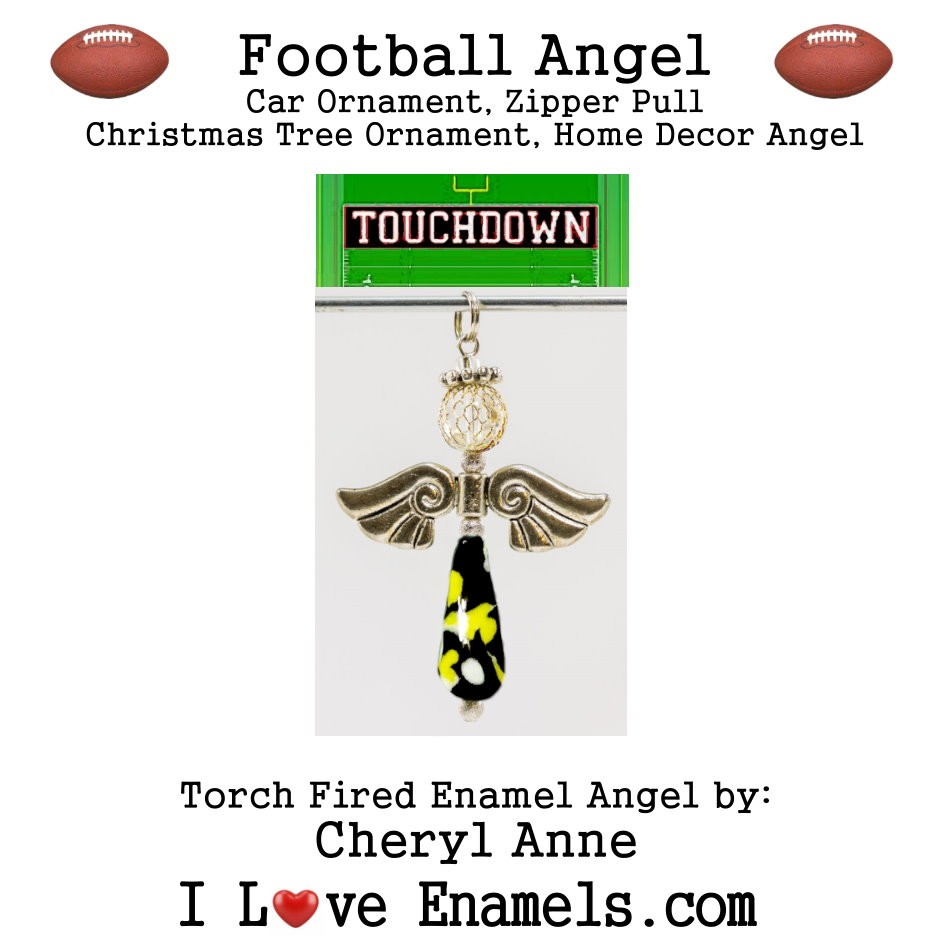 Pittsburgh Steelers Football Angel, Torch Fired Enameled Angel, Angel Necklace, Angel Car Ornament, Christmas Tree Angel Ornament, Zipper Pull, Fan Pull