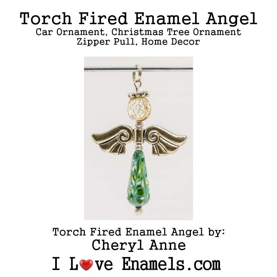 Blue Green, Torch Fired Enameled Angel, Angel Necklace, Angel Car Ornament, Christmas Tree Angel Ornament, Zipper Pull, Fan Pull