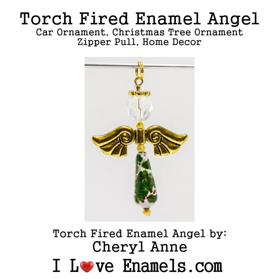Christmas Holly, Torch Fired Enameled Angel, Angel Necklace, Angel Car Ornament, Christmas Tree Angel Ornament, Zipper Pull, Fan Pull