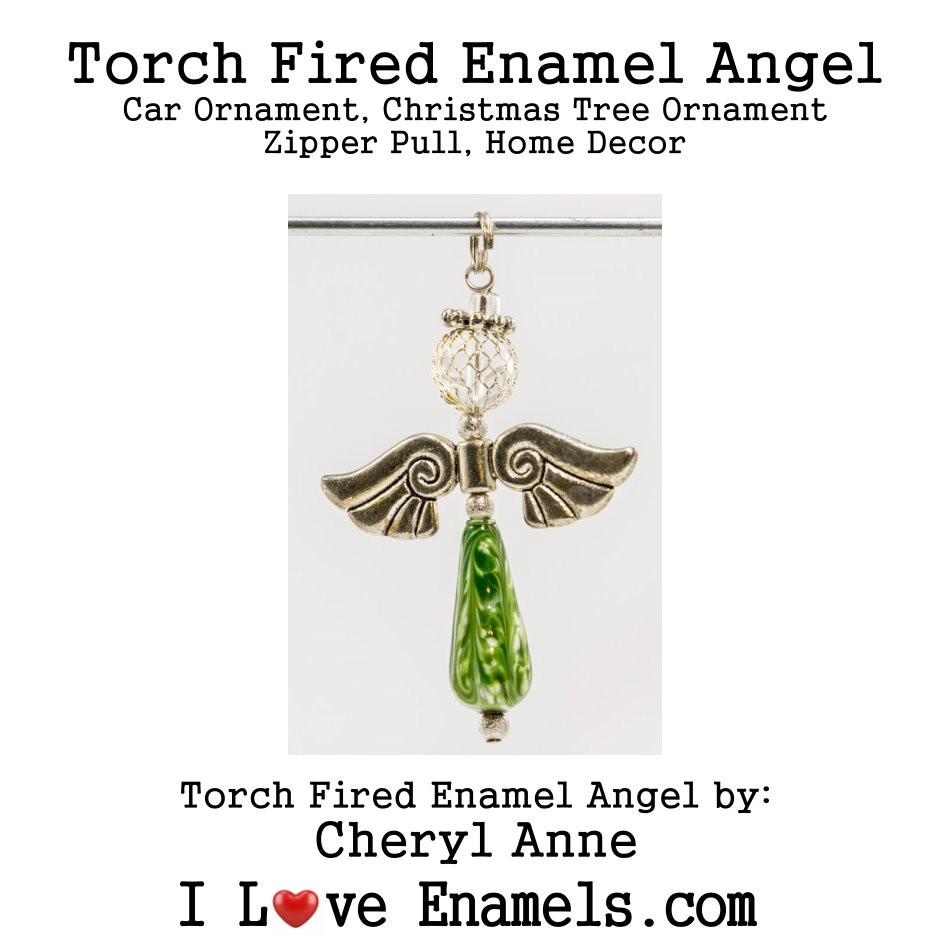Green, Torch Fired Enameled Angel, Angel Necklace, Angel Car Ornament, Christmas Tree Angel Ornament, Zipper Pull, Fan Pull