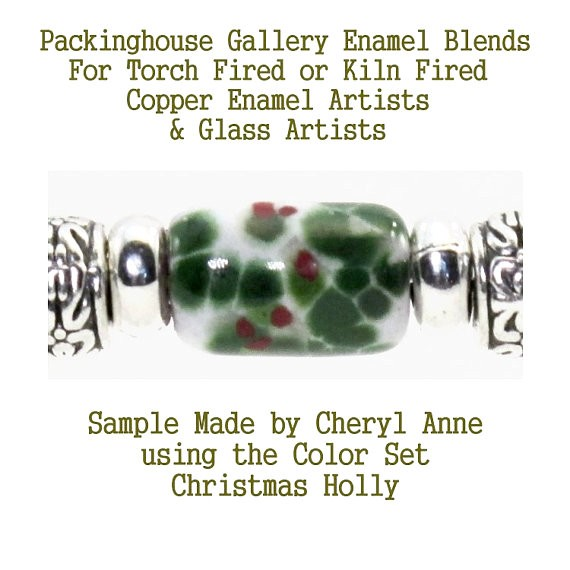 New Christmas Holly Enamel Frit Blends for Torch Fired Copper Enamel Beads for Artists, Metalsmiths & Enamelist Color: Christmas Cheer