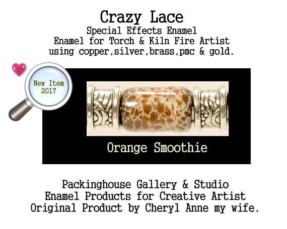 Orange Smoothie Special Effects Enamel by Cheryl Anne, Enamel Mix, for Copper, Gold, Silver, PMC. Enamel, Packinghouse Gallery