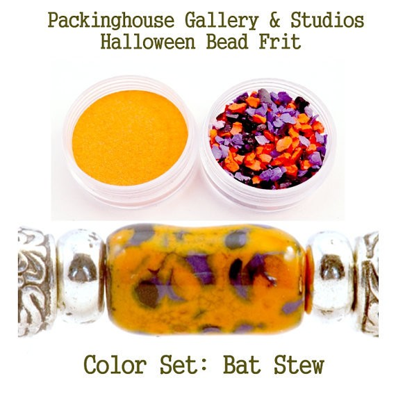Bat Stew Halloween Bead Frit Mixes for Glass & Copper for artists using torch fired or kiln fired processes to make beads
