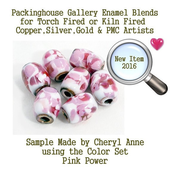 Pink Power, Enamel Glass Frit for Copper, Gold, Silver and PMC artists using torch fired or kiln fired processes to make beads