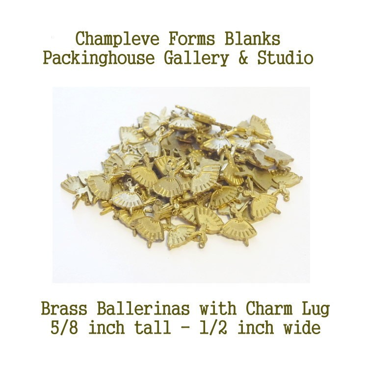 67 Ballerinas, Brass, charm with lug, Champlevé Forms, Wholesale Lots,Clearance Closeouts, Enameling blanks, Stamping Blanks
