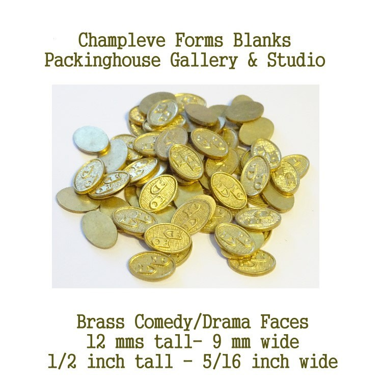 70 Comedy Drama, Brass, Champlevé  Forms, Wholesale Clearance Closeouts, Packinghouse Gallery, Enameling blanks, Stamping Blanks, Kiln Forms