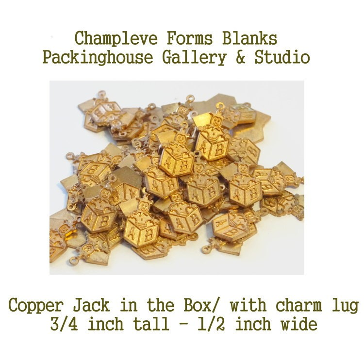 56 Jack in the Box, Copper, Champlevé Forms, Charm with Lug, Wholesale Lots, Clearance Closeouts, Enameling blanks, Stamping Blanks, Kiln