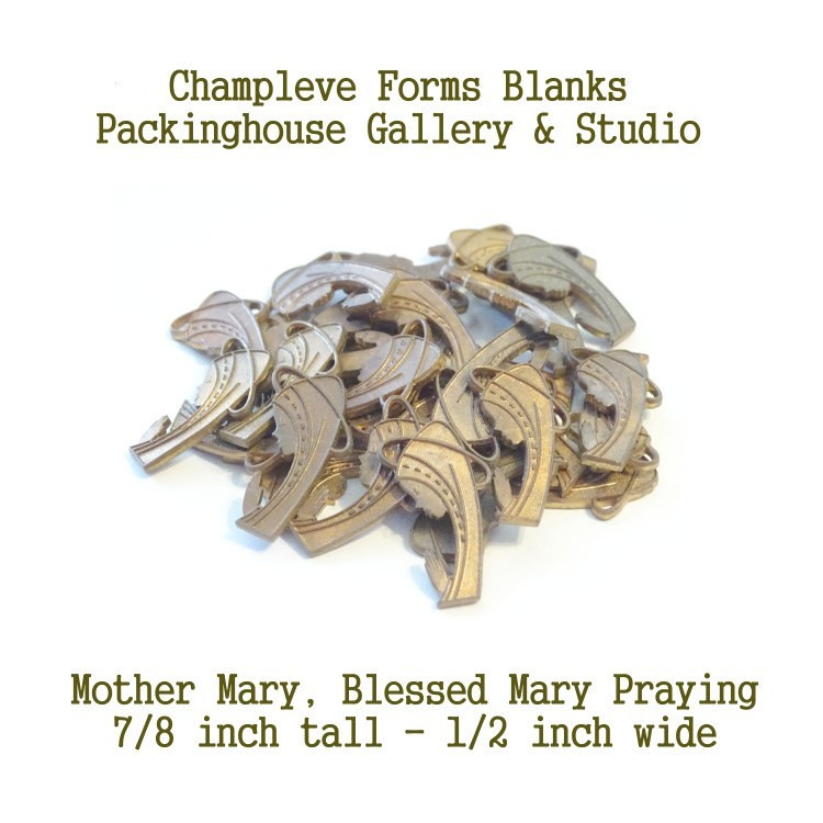 40 Mother Mary, Blessed Mary Praying, Copper & Brass, Champlevé Forms, Wholesale Lots,Clearance Closeouts, Enameling blanks, Stamping Blanks