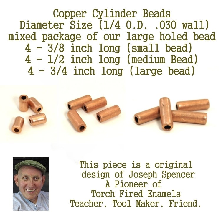 Large Hole Beads, Cylinder Beads, for torch fired/ kiln fire artists (mixed pack) hand cut copper beads large holed beads