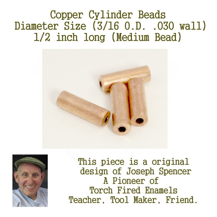 Small Hole Beads, Medium Length Cylinder Beads for enamel artists and designers 3/16 inch by 1/2 inch long hand cut Joe Spencer Jim Swallow