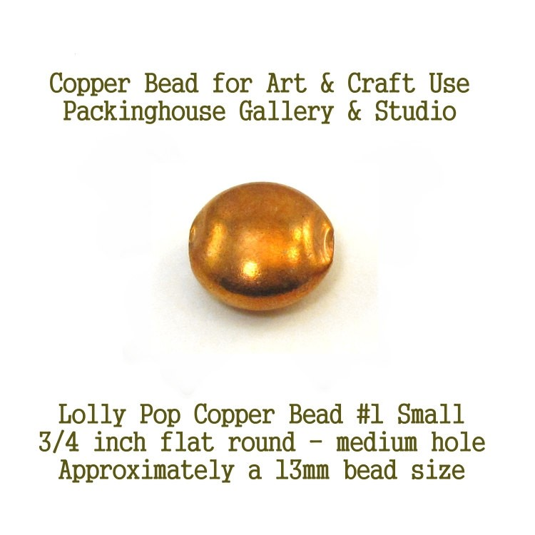 Lolly Pop Bead Small Size Copper for torch fired enamel or glass artist Copper Ball Beads