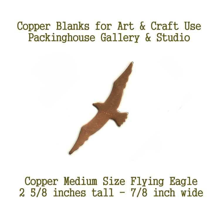 Copper, Medium Size Flying Eagle blank metal cut out made of copper for metal working, enameling and jewerly making