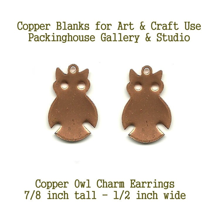 Copper Cute Owl Charm Stamping Blanks, Copper, 18 gauge copper blanks are great to paint, stamp, torch fire, kiln fire, patia just have fun