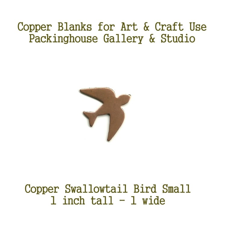 Copper, Swallowtail Bird (small) Blank Shape cut outs made of copper for metal working, enameling, engraving, etching and jewerly making