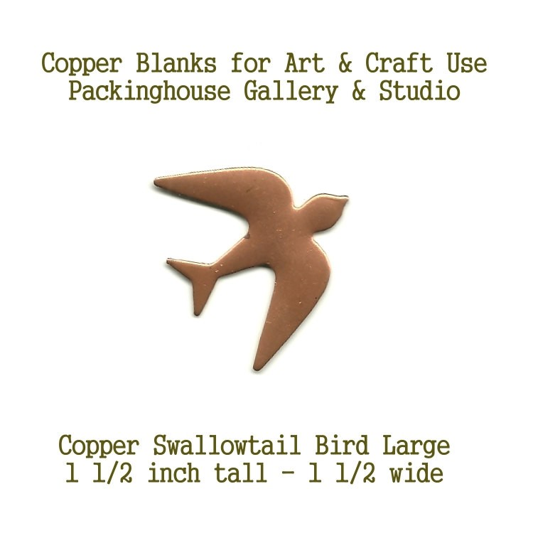 Copper, Swallowtail Bird (large) Blank Shape made of copper for metal working, enameling and jewerly making. leatherworking, etching