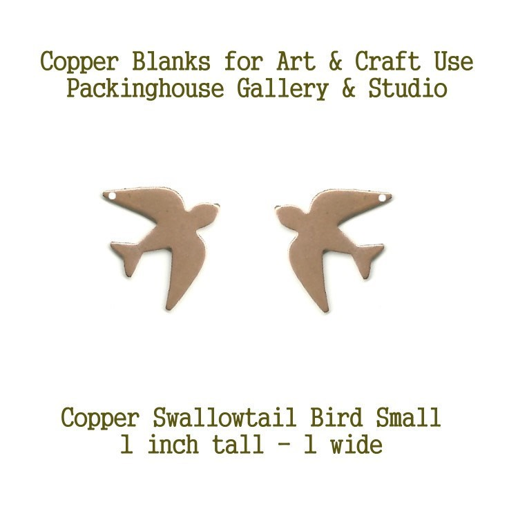 Copper Swallowtail Bird Earrings (small) Blank Shape, stamping blanks, coppe blanks, metal working, enameling and jewerly making