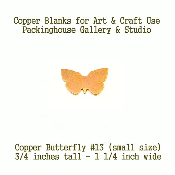 Copper Blank, Small Butterfly #13 small size butterfly made of copper for metal working, enameling, stamping, engraving and jewerly making
