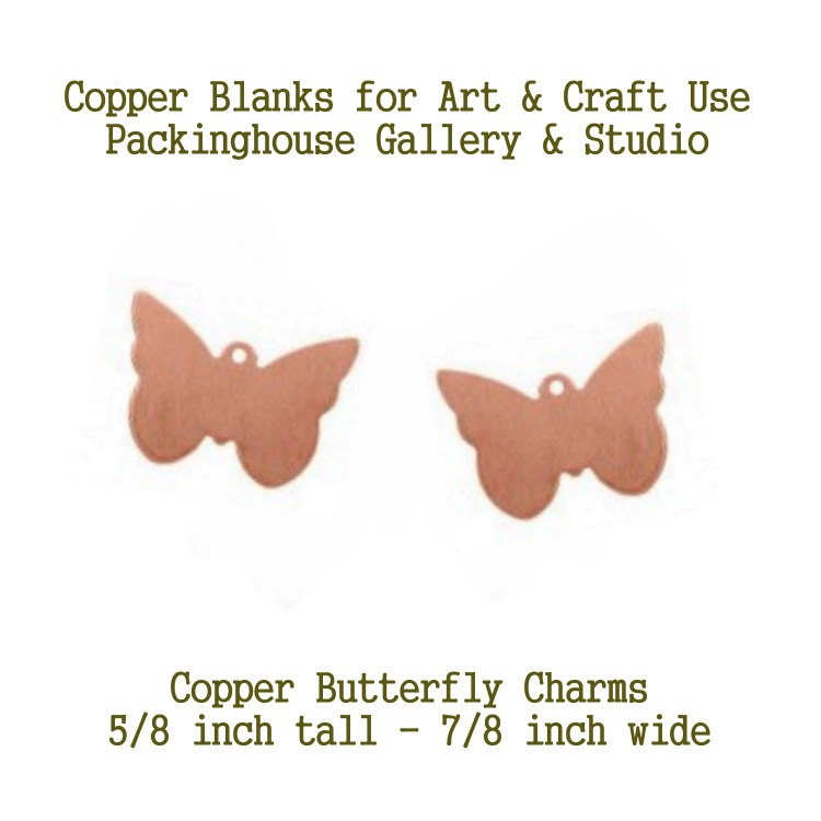 Copper Butterfly Charm with lug, Copper Metal Blanks, earrings 18 gauge copper blanks are great to paint, stamp, torch fire, kiln fire, patia just have fun