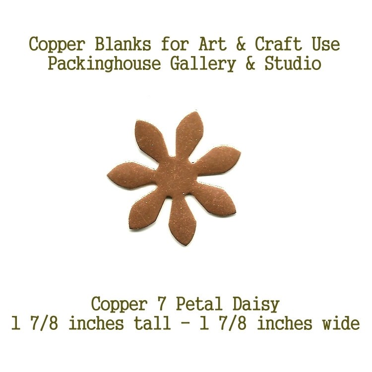 7 Petal Daisy, Copper, Copper Blank Shape cut outs made of copper for metal working, enameling and jewerly making