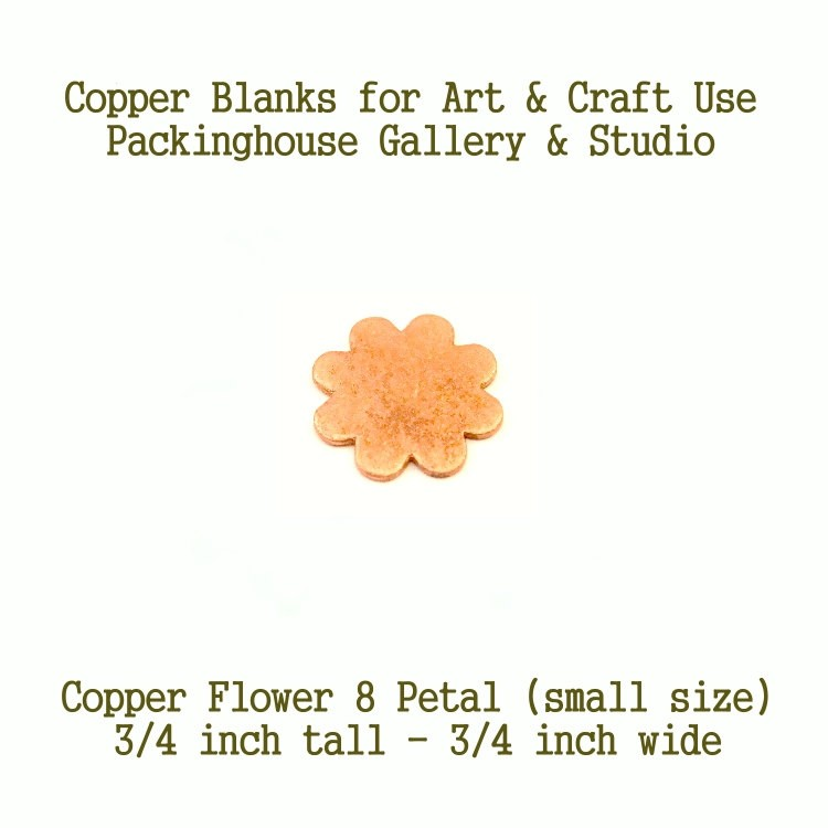 8 Petal Flower (small-size), Copper Blank Shape, copper for metal working, enameling, jewerly making, etching, engraving, leatherworking