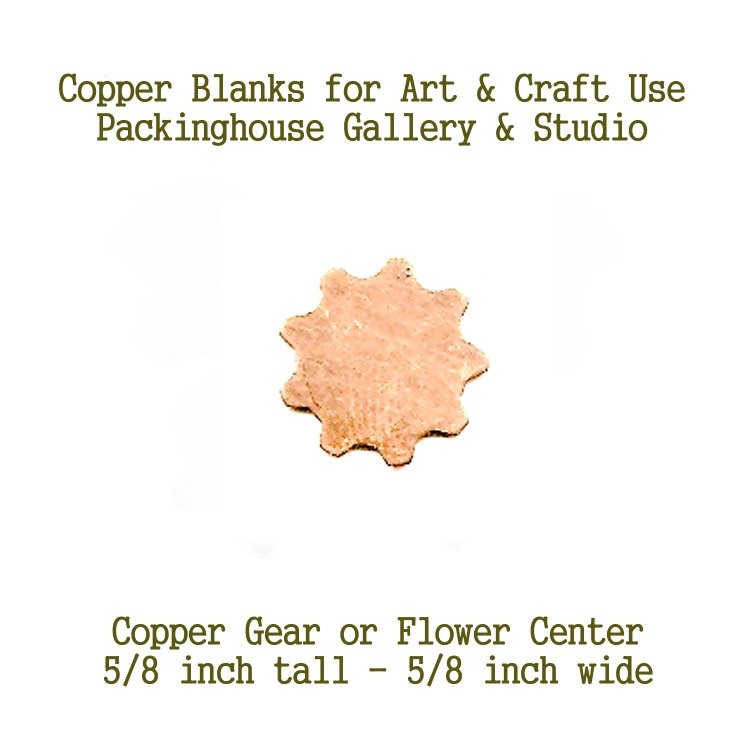 Flower Center, or Gear, Copper Stamping Shape, Copper metal shape cut outs made of copper for metal working, enameling, steam punk style