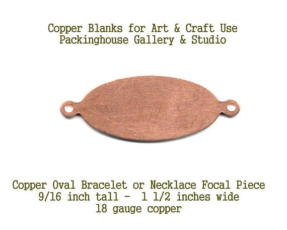 Bracelet or Necklace Pendant Copper Metal Blank for stamping, etching, painting, scrapbooking, metal working, Enameling