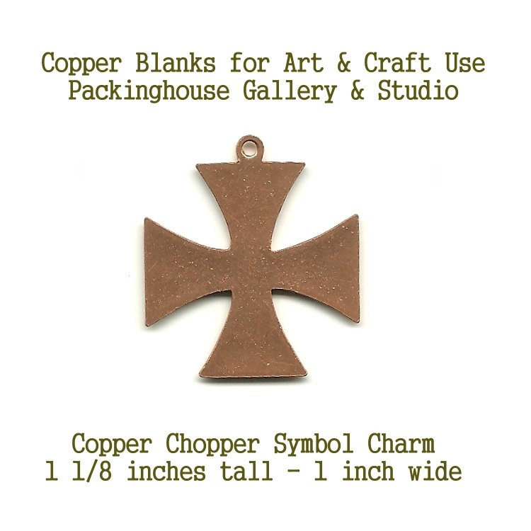 Chopper Symbol Charm, Copper shape blank metal cut out made of copper for metal working, enameling and jewerly making