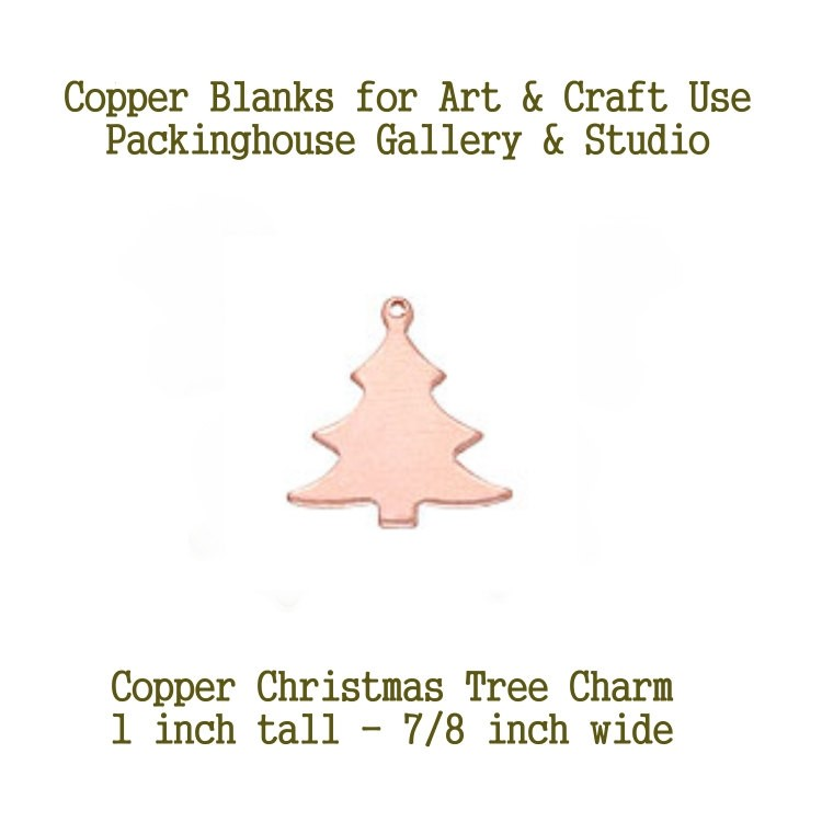 Christmas Tree Charm (small size) Copper Blank made of copper for metal working, enameling and jewerly making