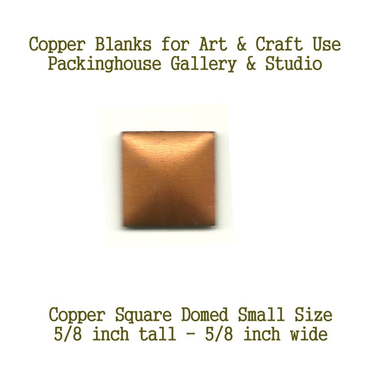 Square Small (Domed) blank metal cut out made of copper for metal working, enameling. leatherworking and jewerly making
