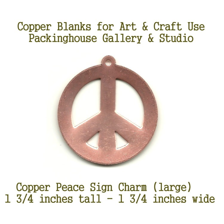 Peace Sign Pendant, copper Large shape made of copper for metalworking, enameling, etching, engraving, leatherworking and jewelry making