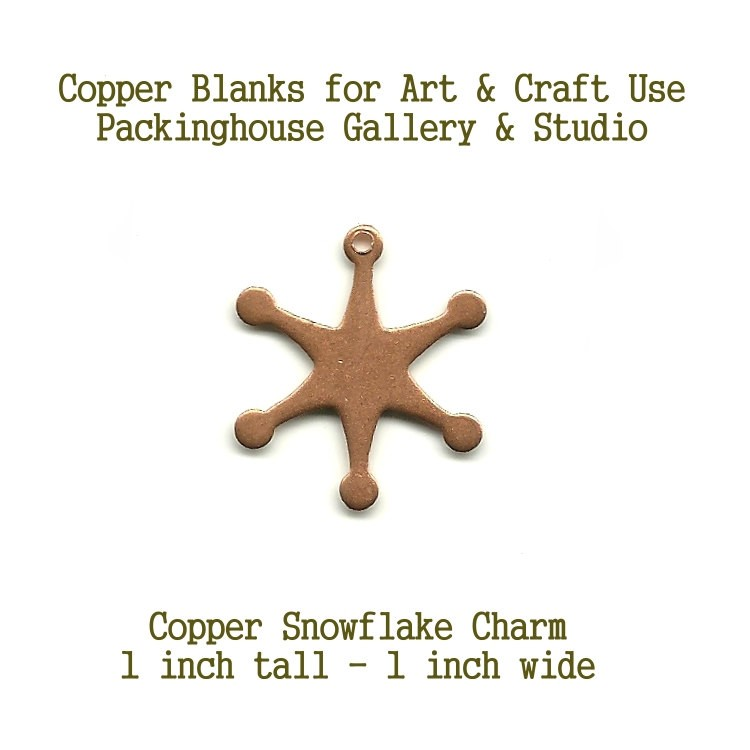 Snowflake Charm, copper shape, copper blank metal cut out made of copper for enameling, metalworking, leatherworking and jewerly making