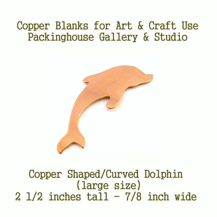 Dolphin Large Size (Curved), Copper Dolphin Blank Shape cut outs made of copper for metal working, enameling and jewerly making Dolphin Shaped Curved Large Size