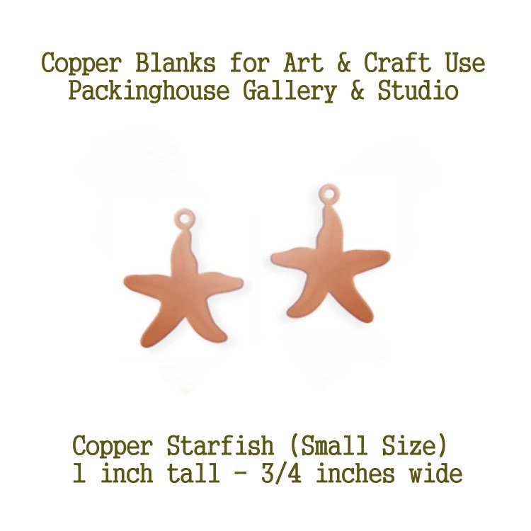 Star Fish Small Size, Copper Metal Blanks, with Hole, copper for metalworking, enameling, etching, engraving, leatherworking and jewelry making