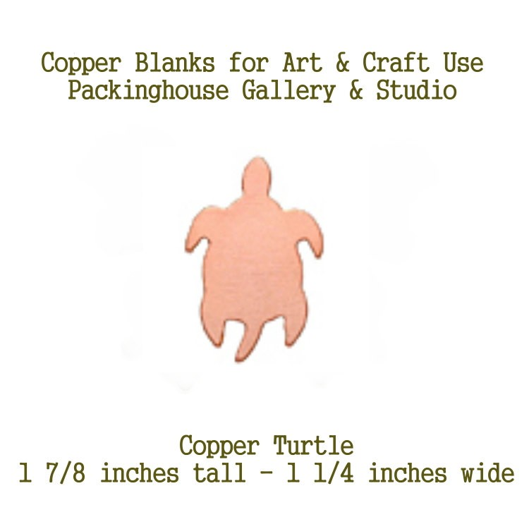 Turtle Copper Blank Shape cut outs made of copper for metal working, enameling and jewerly design