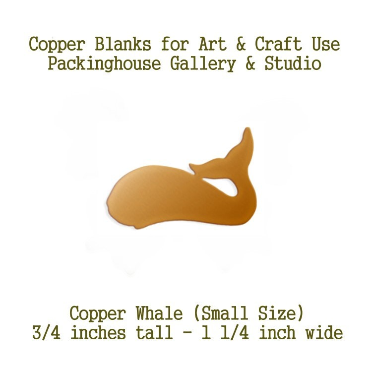 Whale Small Size, Copper Metal Blanks, for earrings, Metal Stamping Blanks, works will with enamel paints, torch, kiln fire