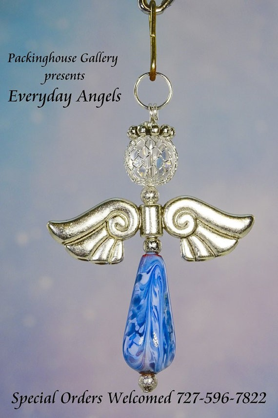 Blue Color Torch Fired Enameled Angels, Angel Keychain, Angel Necklace, Angel Ornament, Angel Decoration, Angel Pendant, Prayer Angel