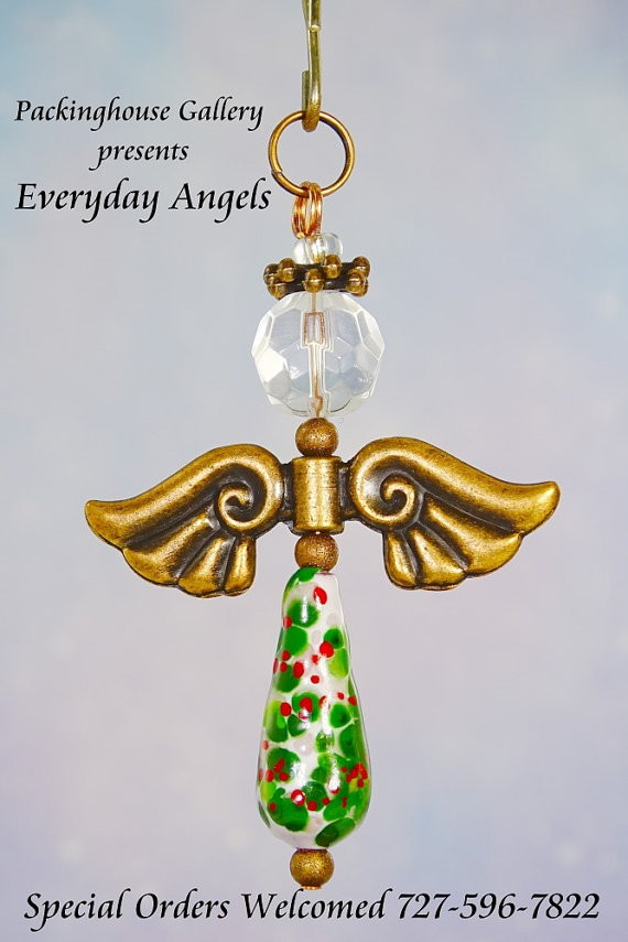 Christmas Holly Torch Fired Enameled Angels, Angel Keychain, Angel Necklace, Angel Ornament, Angel Decoration, Angel Pendant, Prayer Angel