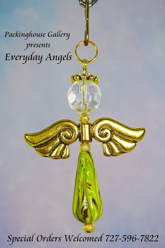 Lime Green Torch Fired Enameled Angels, Angel Keychain, Angel Necklace, Angel Ornament, Angel Decoration, Angel Pendant, Prayer Angel