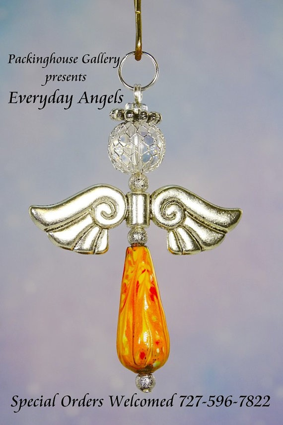 Orange Torch Fired Enameled Angels, Angel Keychain, Angel Necklace, Angel Ornament, Angel Decoration, Angel Pendant, Prayer Angel