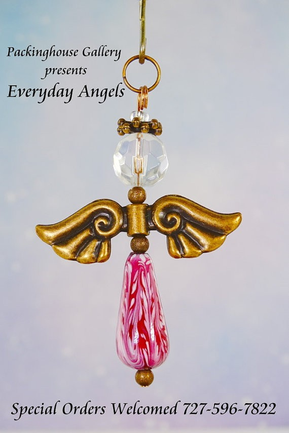 Pink Torch Fired Enameled Angels, Angel Keychain, Angel Necklace, Angel Ornament, Angel Decoration, Angel Pendant, Prayer Angel