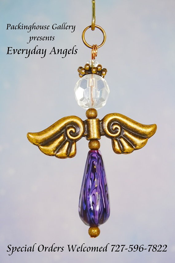 Purple Torch Fired Enameled Angels, Angel Keychain, Angel Necklace, Angel Ornament, Angel Decoration, Angel Pendant, Prayer Angel