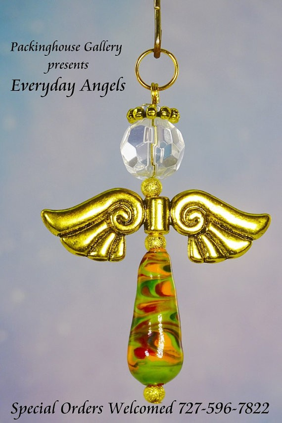 Swirl Color Torch Fired Enameled Angels, Angel Keychain, Angel Necklace, Angel Ornament, Angel Decoration, Angel Pendant, Prayer Angel