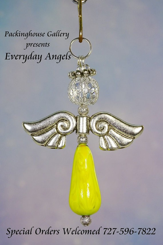Yellow Torch Fired Enameled Angels, Angel Keychain, Angel Necklace, Angel Ornament, Angel Decoration, Angel Pendant, Prayer Angel