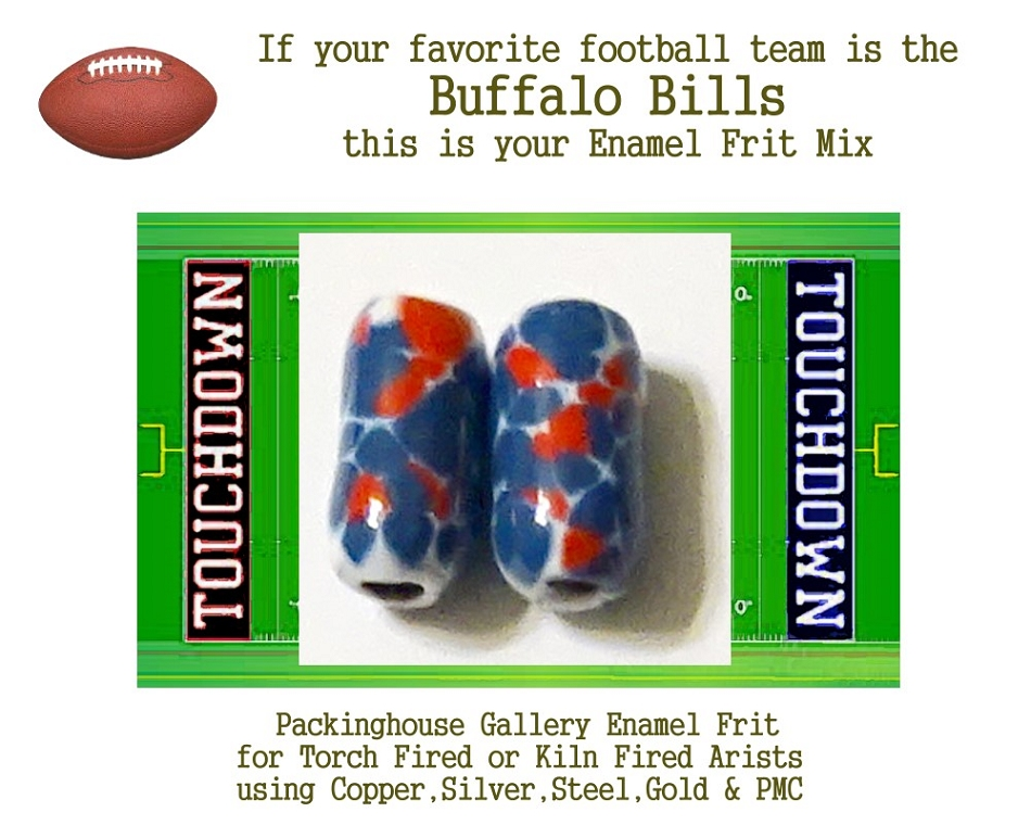 Buffalo Bills Football, Enamel Glass Frit, Football Team Colors, Football Spirit and Pride,  Football Jewlery and Gifts