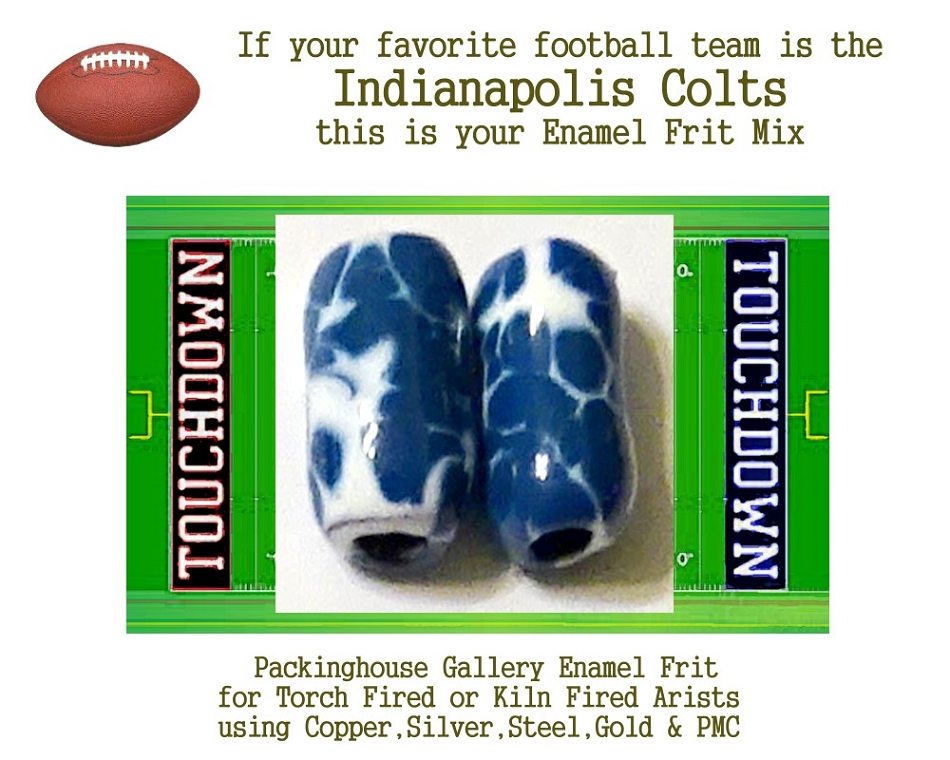 Indianapolis Colts Football, Enamel Glass Frit, Football Team Colors, Football Spirit and Pride,  Football Jewlery and Gifts