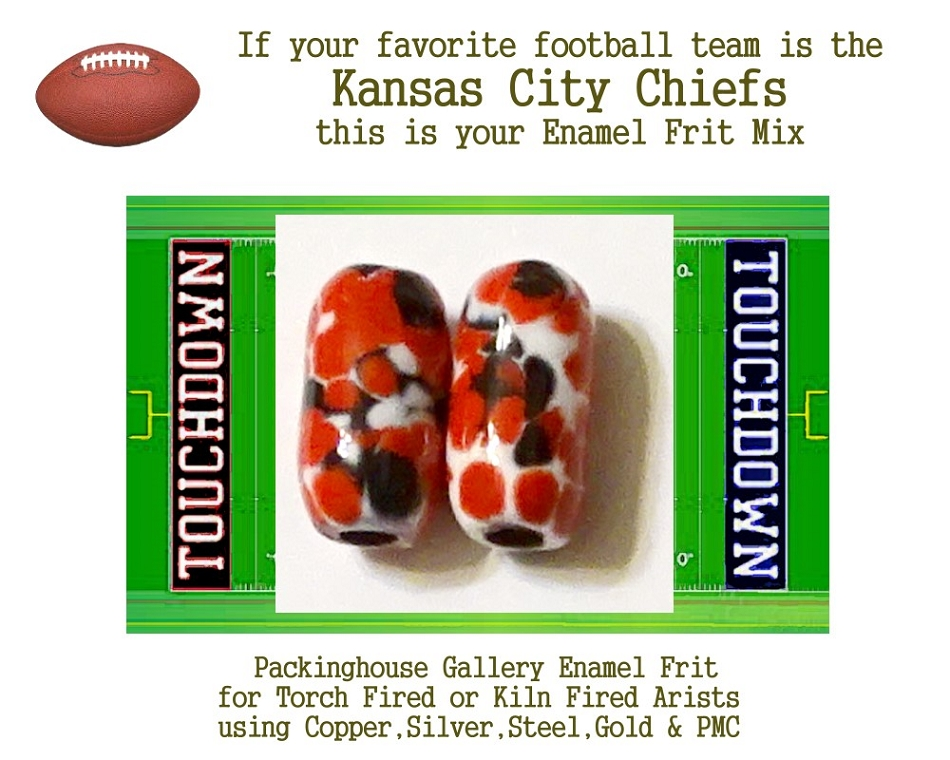 Kansas City Chiefs Football, Enamel Glass Frit, Football Team Colors, Football Spirit and Pride,  Football Jewlery and Gifts